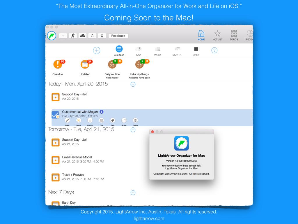 LightArrow Organizer For Mac Sneak Peek