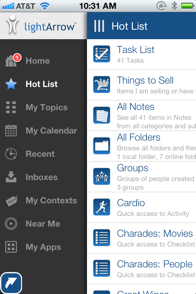 Hot List view on the iPhone