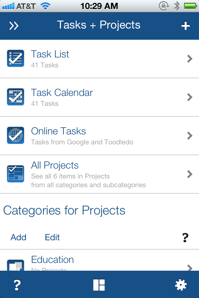 Tasks + Projects topic on the iPhone