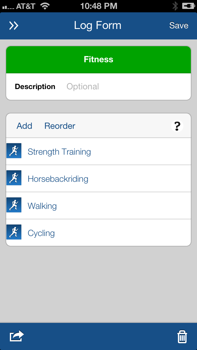 LifeTopix Fitness Log Form