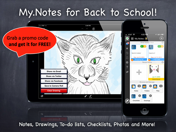 Get a promo code for free note taking app