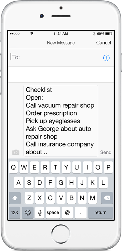 Text Message Checklist