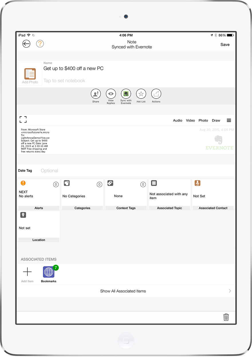 Email Message Converted to Evernote Note