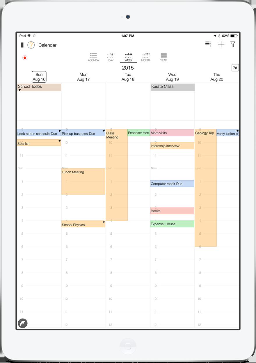 LifeTopix Weekly Calendar View